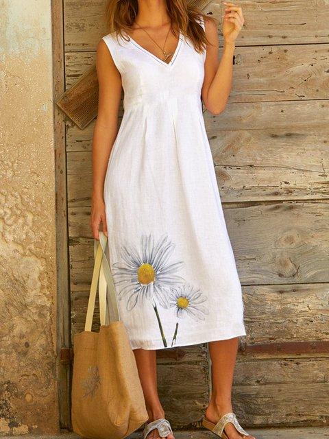 White Cotton Floral Casual Dresses