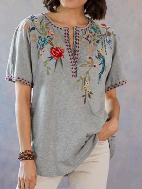 Gray Short Sleeve Floral-Print Cotton-Blend V Neck Shirts & Tops