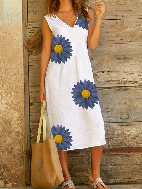 White Floral Cotton Sleeveless Dresses