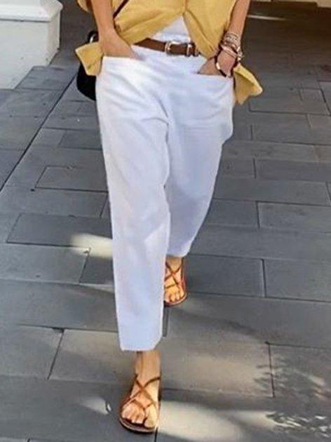 White Shift Holiday Cotton Pants