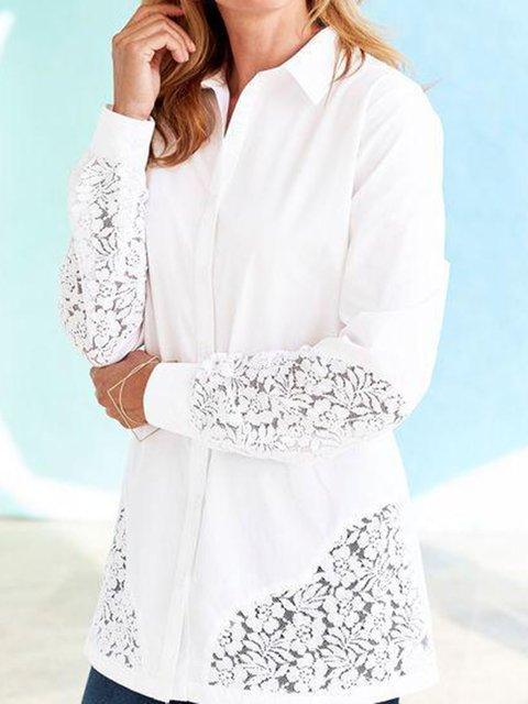 White Casual Shirt Collar Cotton-Blend Plain Shirts & Tops