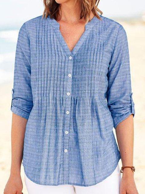 Blue Half Sleeve V Neck Shirts & Tops