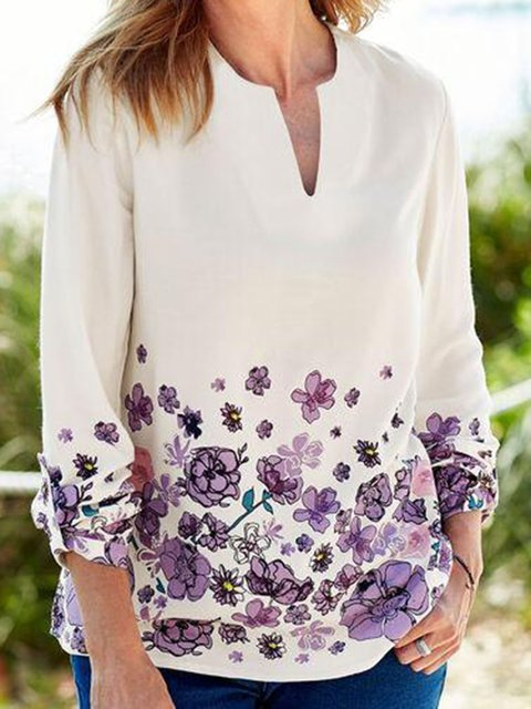 White V Neck Casual Floral Shirts & Tops