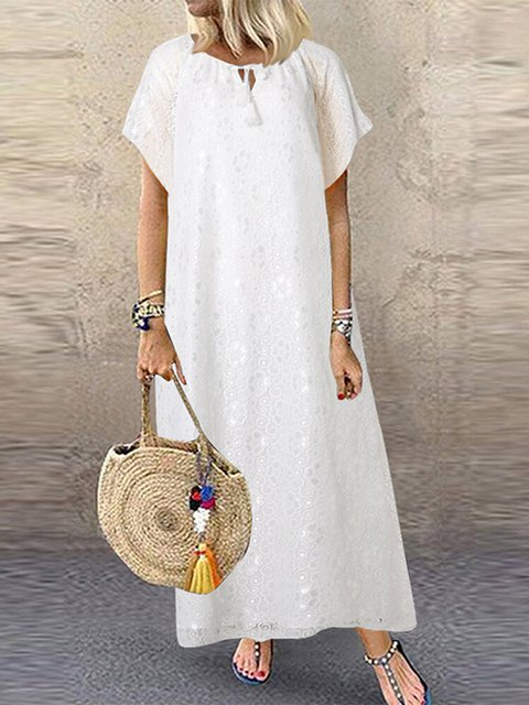 Lace Double Layers Short Sleeve Casual Dresses