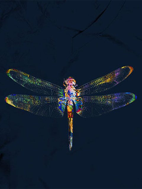 Color Dragonfly Print T-shirt