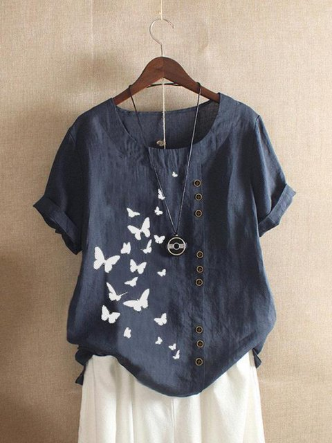Casual loose round neck short sleeve printed butterfly top