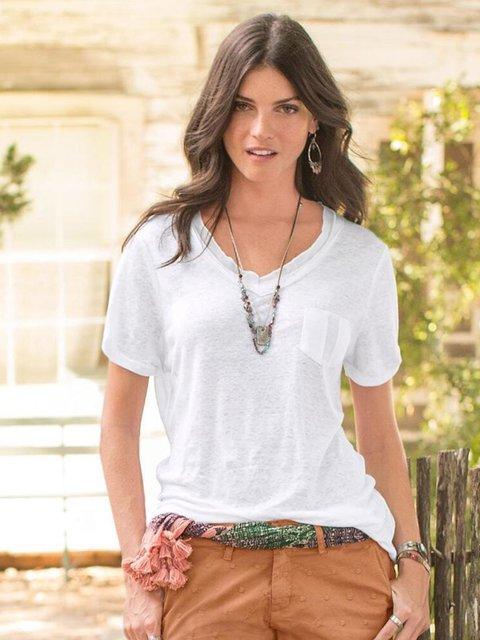 White Casual Short Sleeve  Pocket V Neck Shirts & Tops