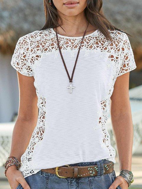 White Cotton-Blend Short Sleeve Crew Neck Shirts & Tops