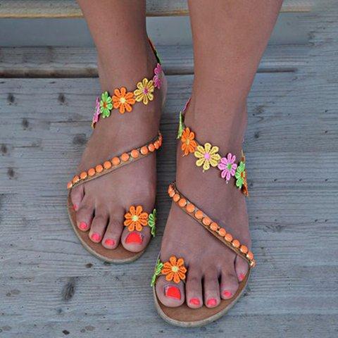 Women Boho Flower Slip-On Flat Sandals