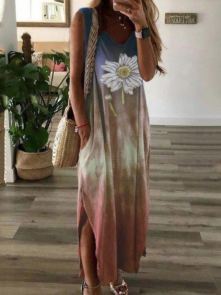 Multicolor Cold Shoulder V Neck Dresses