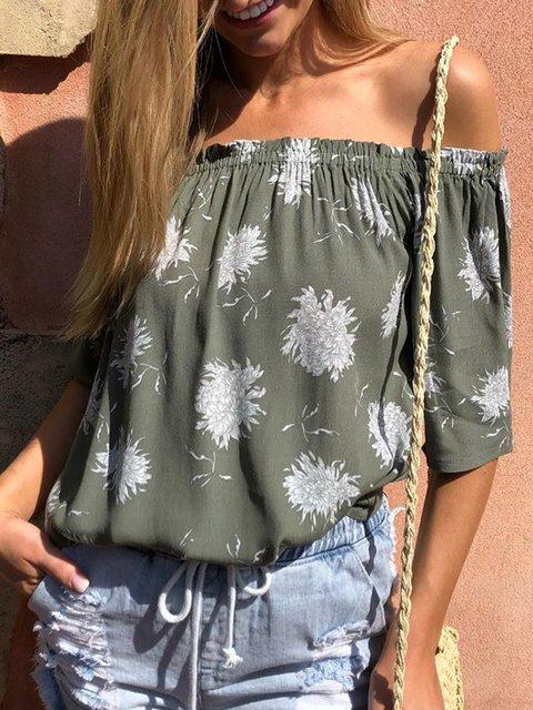 Off Shoulder Blouses Plus Size Floral Shirts