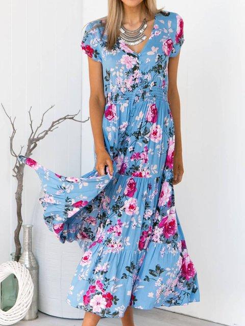 Summer Floral Maxi Dress Plus Size Dresses