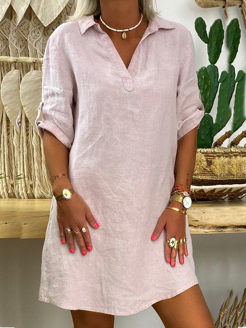 Casual Shirt Collar Rounder Hem Mini Dresses