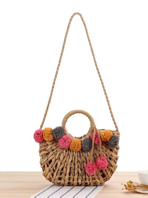 Straw Woven Handbags Women's Boho Handmade Crossbody Bags