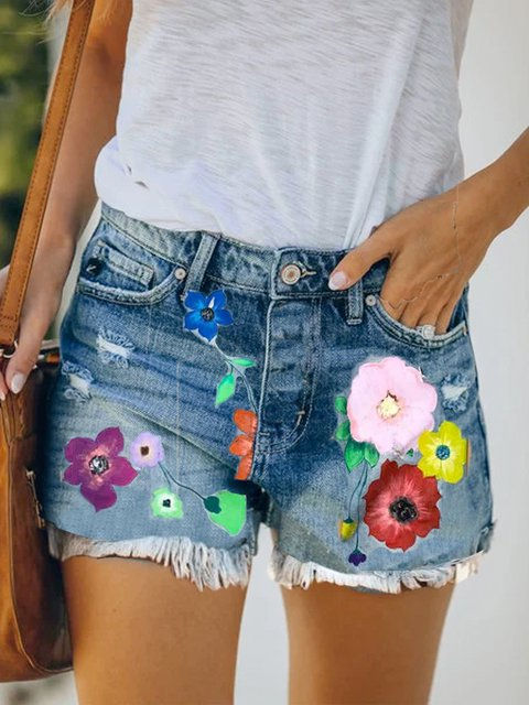 Casual summer denim washed floral printed denim shorts