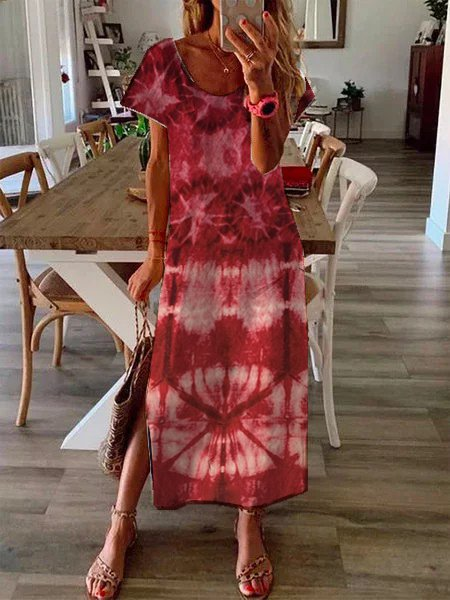 Short Sleeve Casual Ombre/tie-Dye Dresses