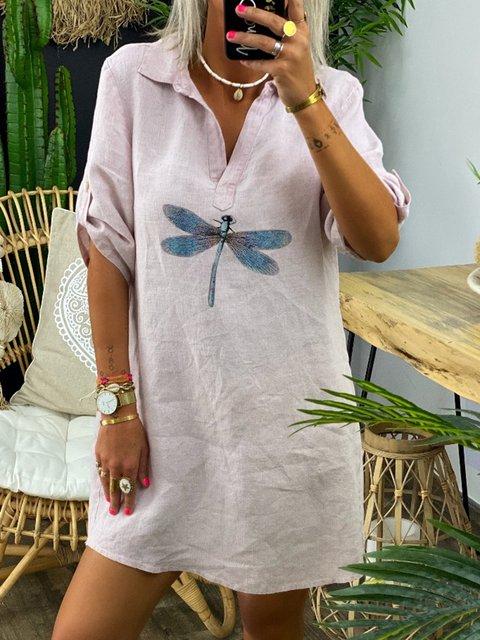 Casual Shirt Collar Dragonfly Print Mini Dress