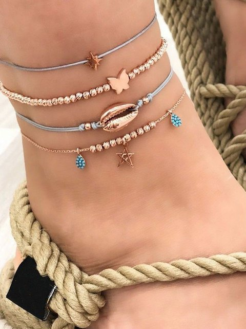 Women Alloy Multi-layer Anklets