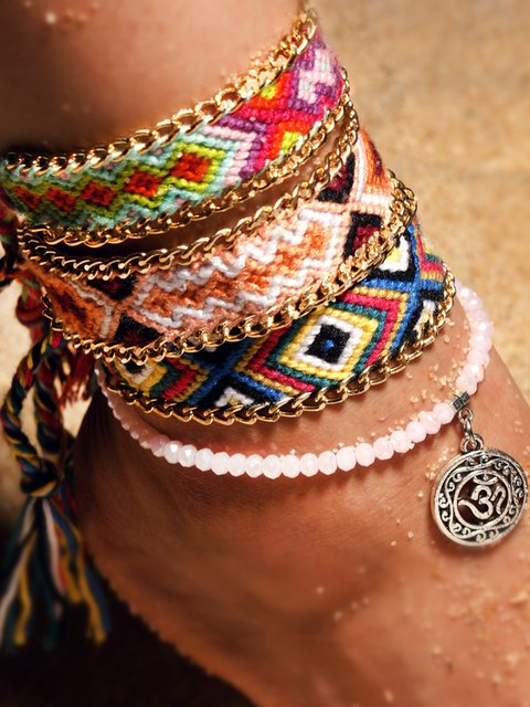 Women Vintage Double Layer Handmade Wove Anklets