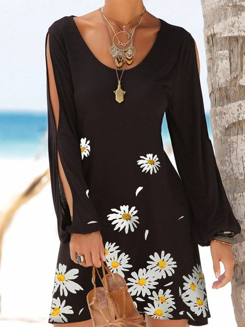 Black Long Sleeve Floral Casual Floral-Print Dresses