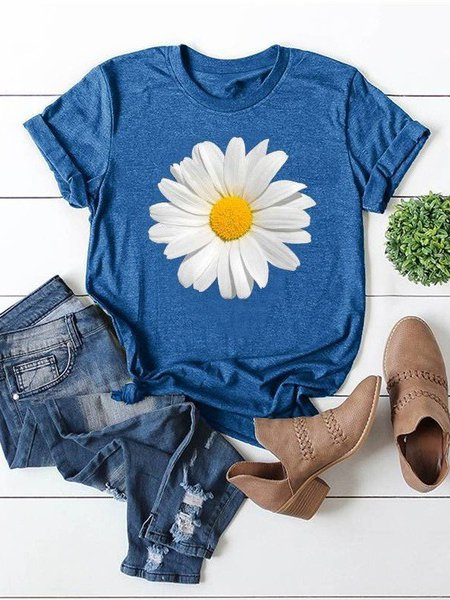 Short Sleeve Crew Neck Floral-print Casual Shirts & Tops
