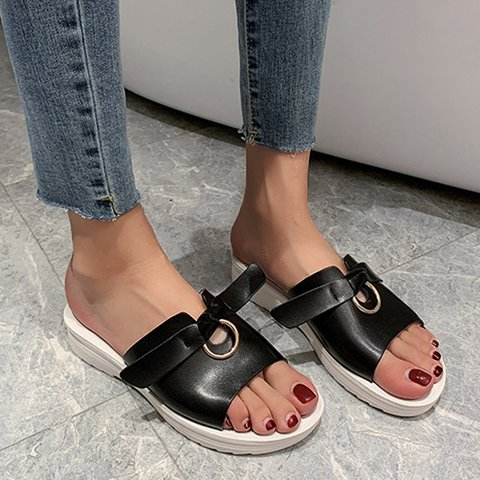 Black Artificial Leather Summer Bowknot Slippers