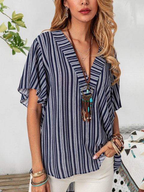 Navy Blue Cotton-Blend Sexy Striped Shirts & Tops