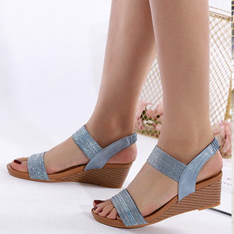 Slip-On Wedge Heel Elastic Band Super Soft Sandals