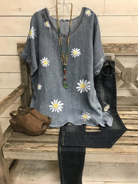 Linen Short Sleeve Casual Floral Shirts & Tops