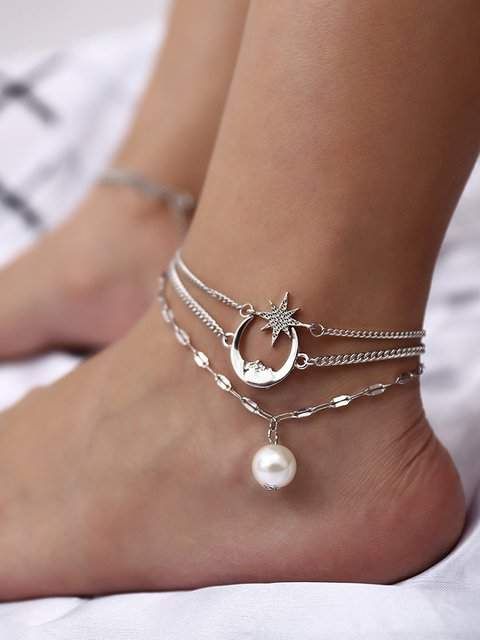 Alloy Moon Star Multi-layer Anklets