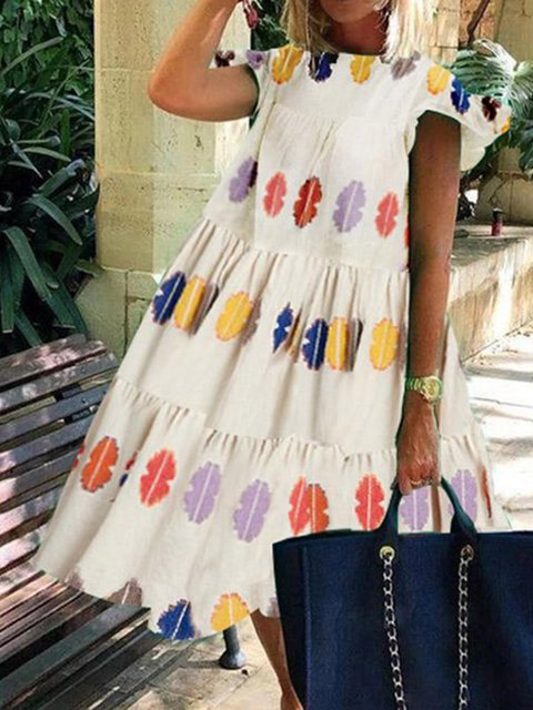 Women Paneled Printed Crew Neck Sleeveless Dresses