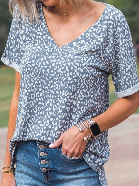 Women Leopard Print V-Neck Short Sleeve Casual Tees