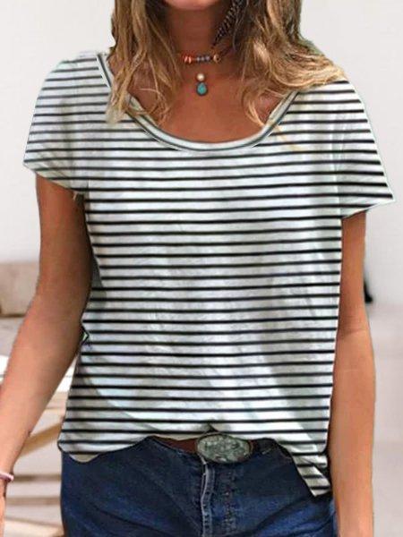 Women Striped Short Sleeve Casual T-Shirts