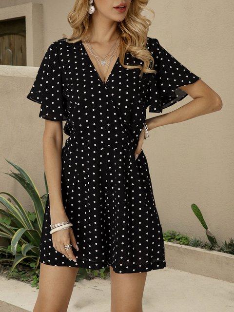 Black Dot Chiffon Short Sleeve V Neck One-Pieces