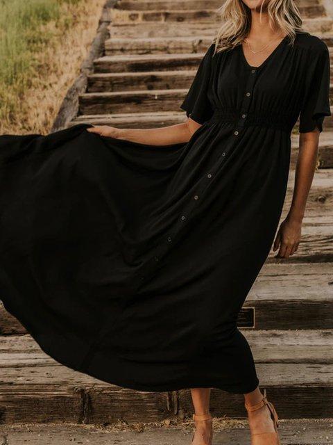 Black Short Sleeve Plain V Neck Cotton-Blend Dresses