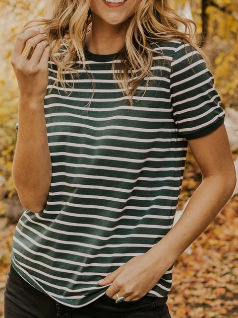 Stripe Crew Neck Casual Striped Cotton Shirts & Tops