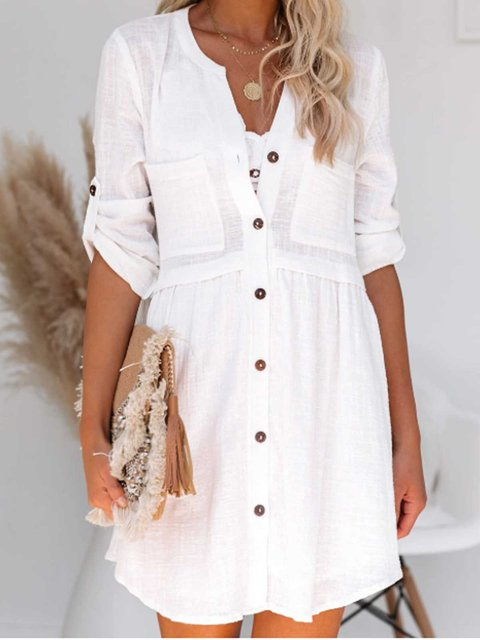 White Pockets Patchwork Half Sleeve Dresses