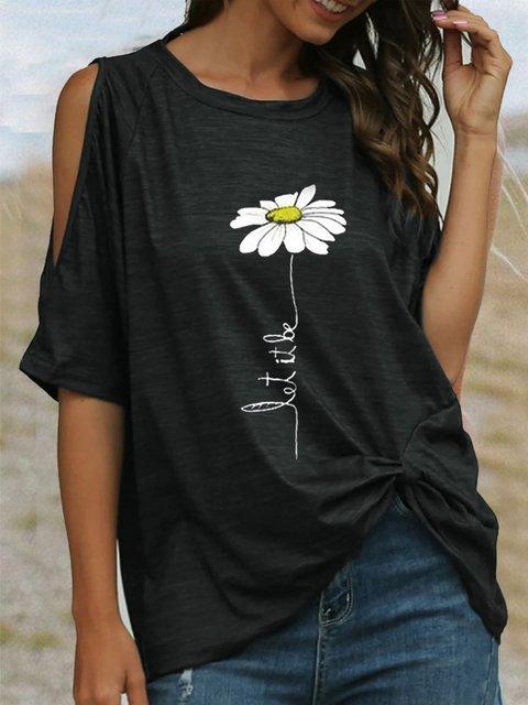 Black Half Sleeve Round Neck Cotton Plain Shirts & Tops