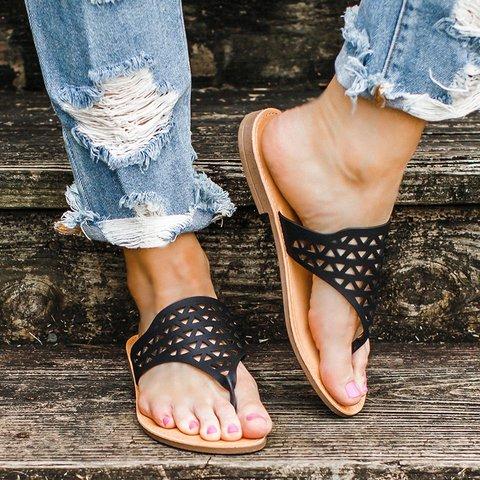 Cut Out Flat Heel Summer Casual Sandals