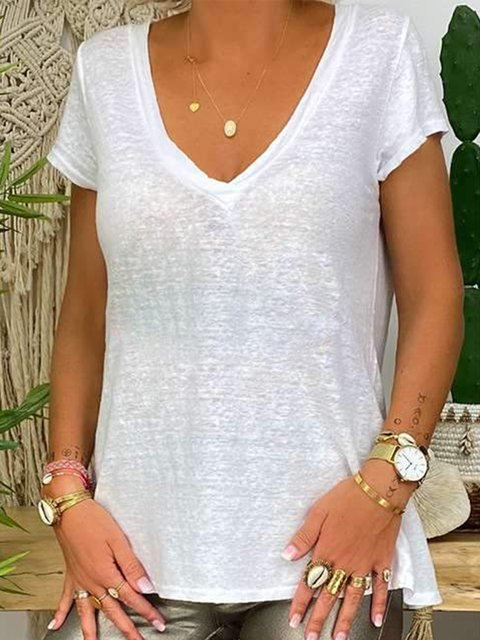 Casual Loose Shorts Sleeve V-neck T-shirts
