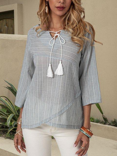 Blue V Neck 3/4 Sleeve Shirts & Tops