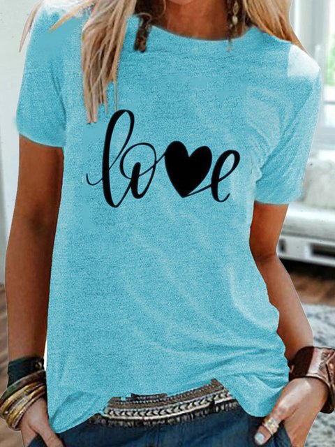 Vintage Short Sleeve Love Letter Printed Crew Neck Plus Size Casual Tops