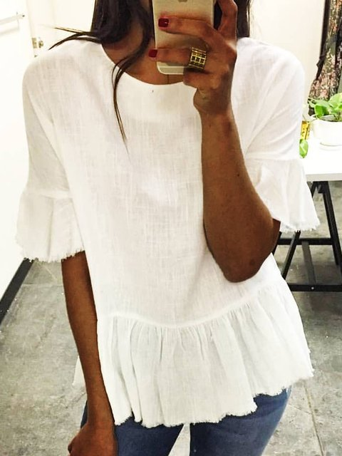 Summer Solid Blouses Women Crew Neck Shirts