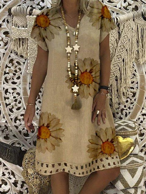Khaki Cotton Printed V Neck Casual Dresses