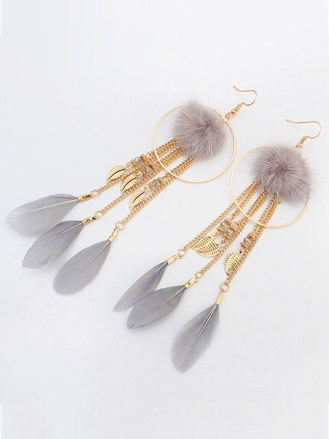 Women Feather Alloy Earrings
