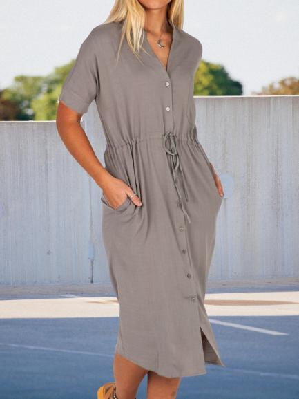 Casual plain drawstring dress loose single-breasted dress