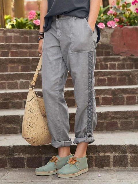 Deep Gray Casual Denim Solid Pants
