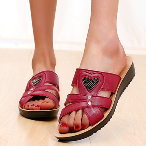 Non-slip Platform Artificial Leather Heart Slippers