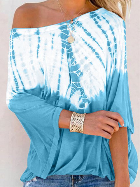 Ombre/tie-Dye Cold Shoulder Cotton-Blend Sexy Shirts & Tops
