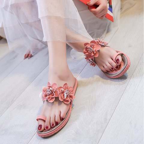 Women Slide Flower Daily Summer Flat Heel Pu Thong Slippers